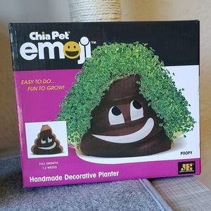 """Chia Pet """"Poopy"""" Emoji Pottery Planter NWOT"""